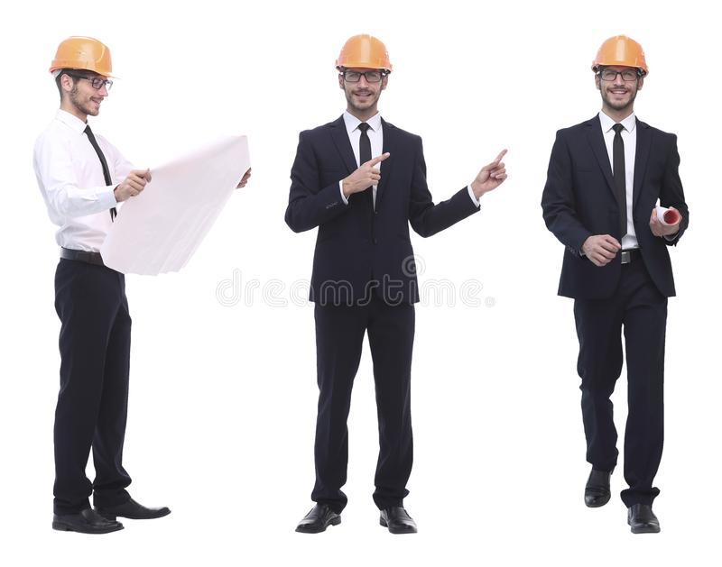 In full growth .successful architect engineer in orange helmet. stock photography