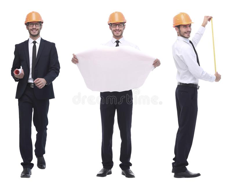 In full growth .successful architect engineer in orange helmet. royalty free stock photo