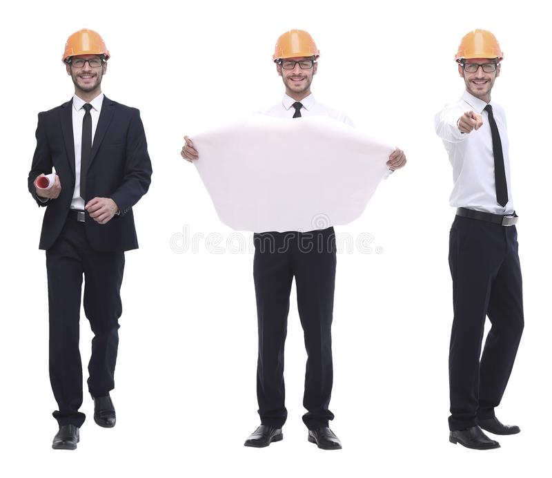 In full growth .successful architect engineer in orange helmet. stock photos