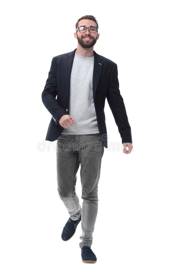 In full growth. successful modern man confidently stepping forward stock photo