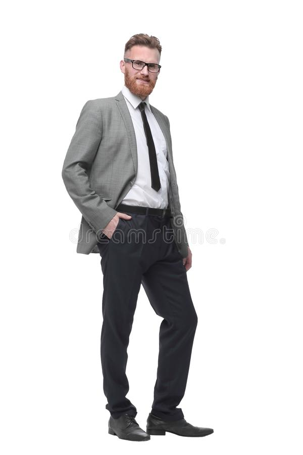 In full growth.successful red-bearded businessman . isolated on white stock images