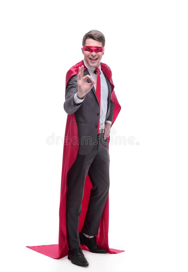 In full growth. superhero businessman showing OK gesture stock images