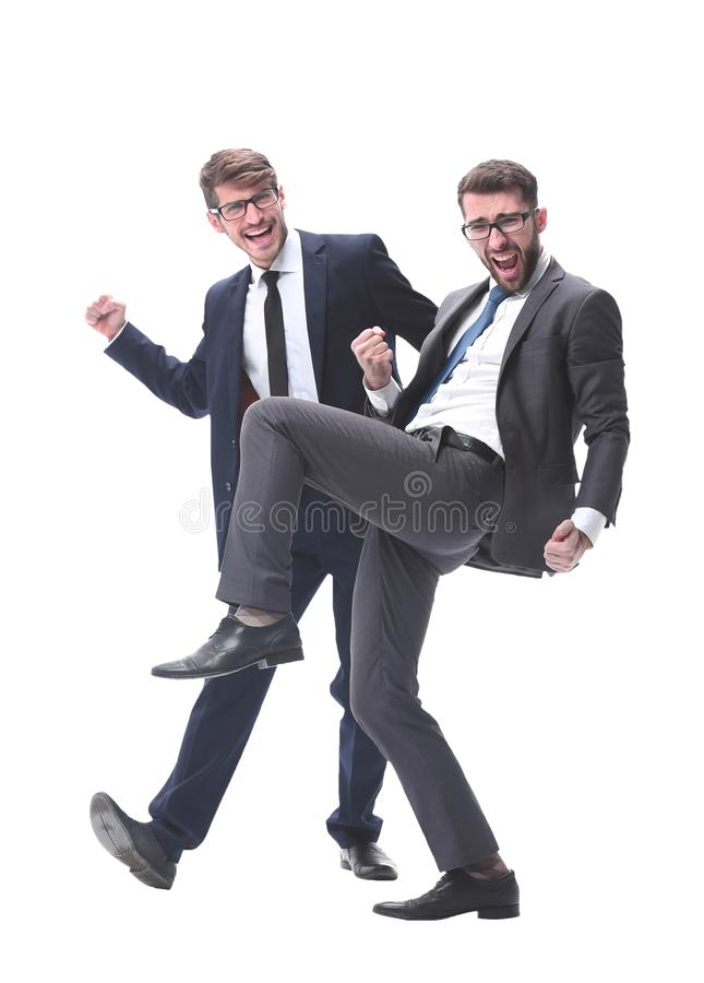 In full growth. two very happy young businessmen royalty free stock photography