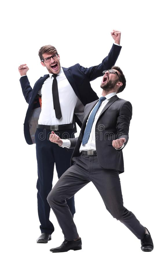 In full growth. two very happy young businessmen royalty free stock images