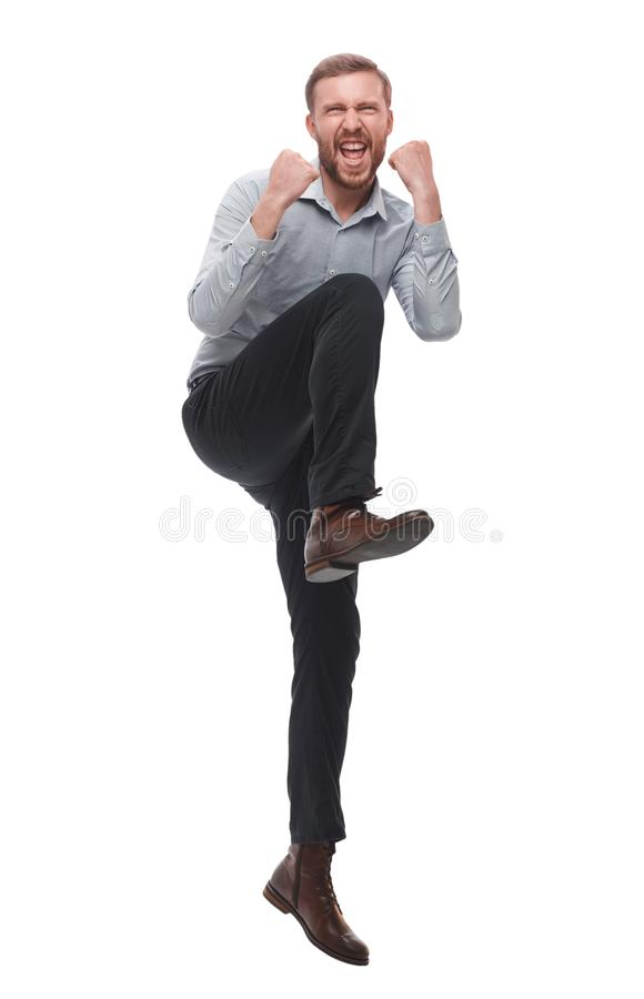In full growth. very happy exultant businessman stock photo