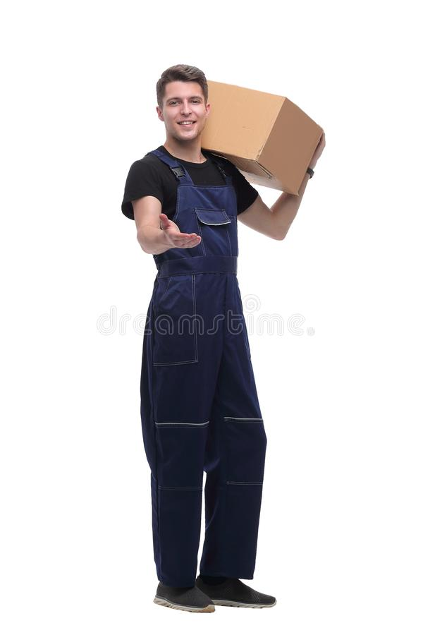 Work in overalls showing thumb up. isolated on white stock photos