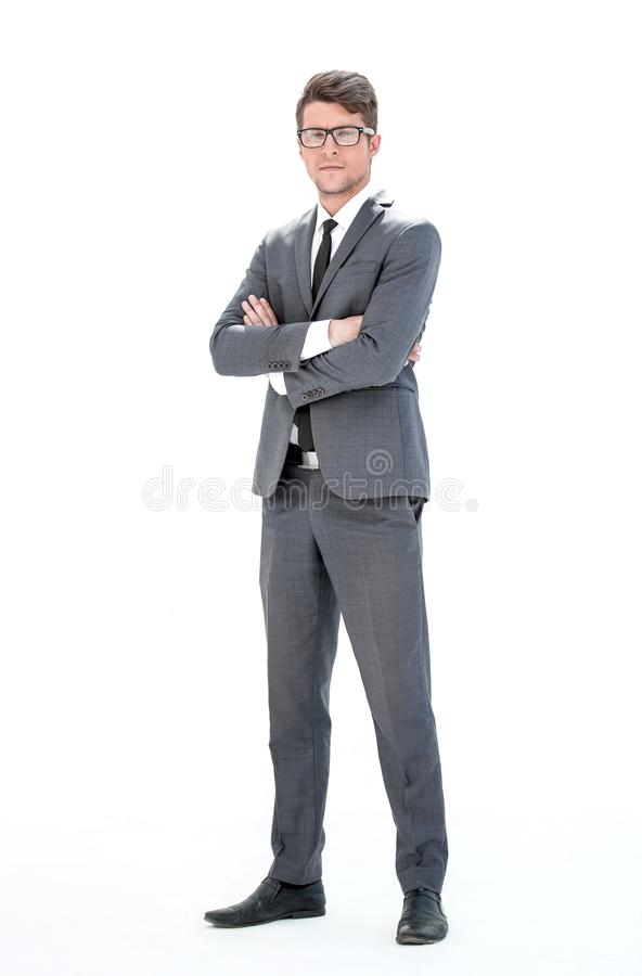 In full growth. young businessman with glasses stock photos