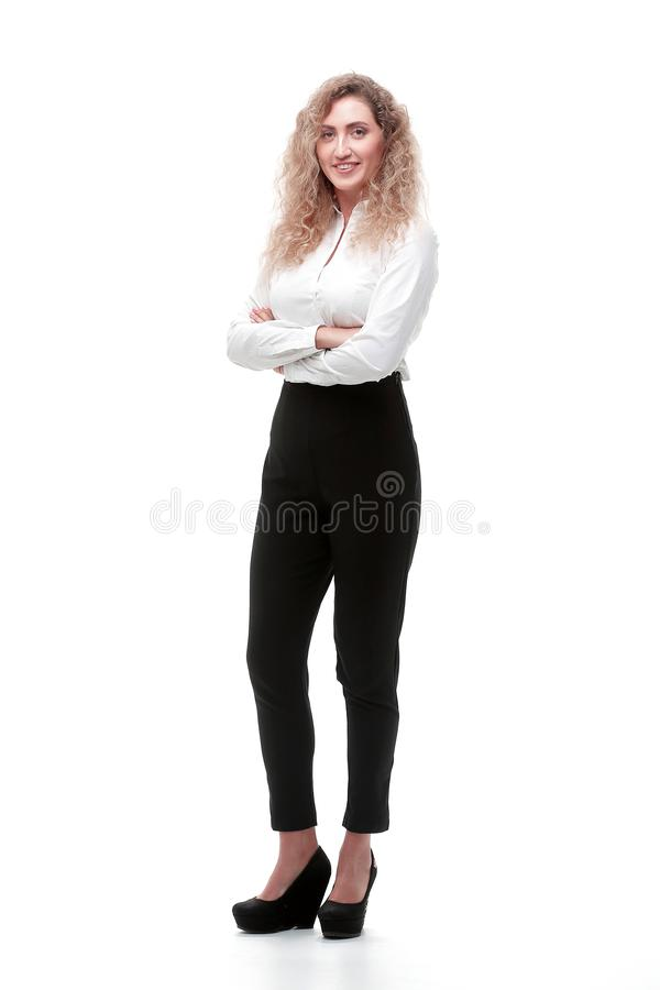 In full growth. a young woman assistant royalty free stock photos