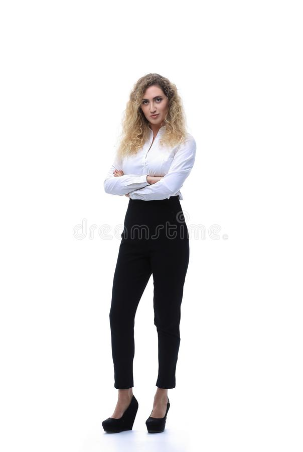 In full growth. a young woman assistant stock image