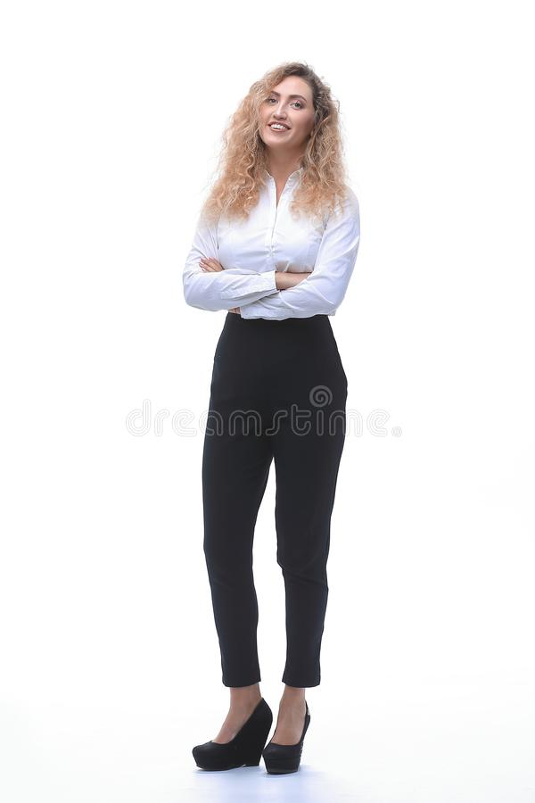 In full growth. a young woman assistant stock photo