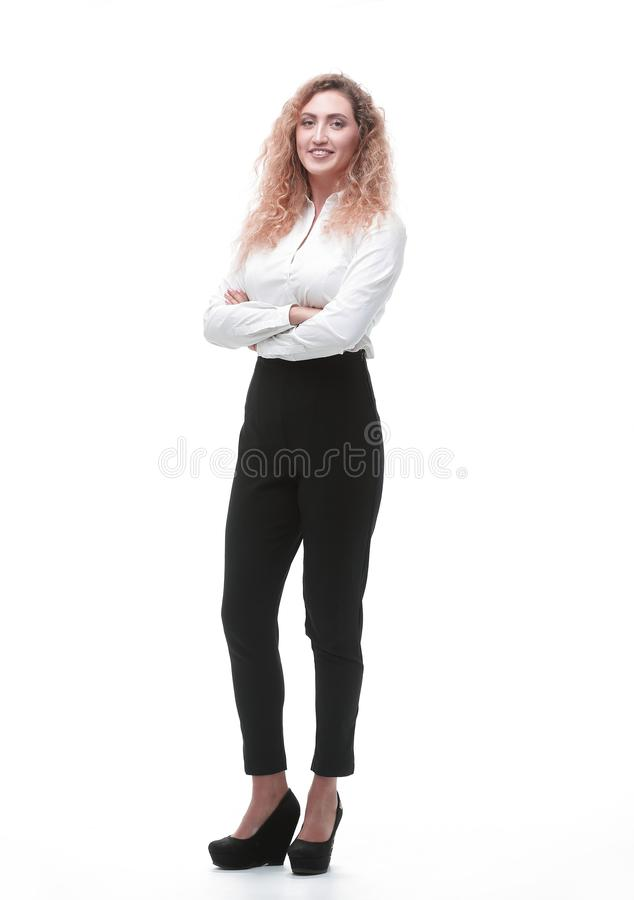 In full growth. a young woman assistant stock photos