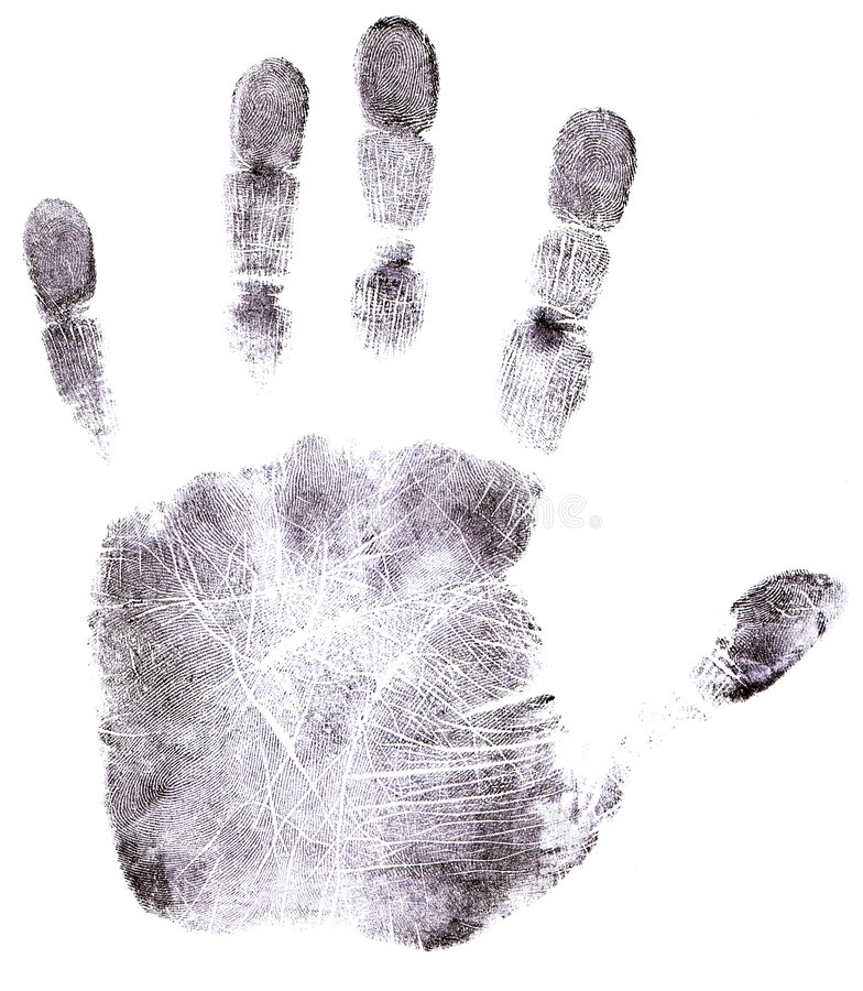 full hand för svart fingeravtryck arkivbild