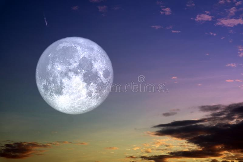 Full hay moon and silhouette white cloud night sky stock images