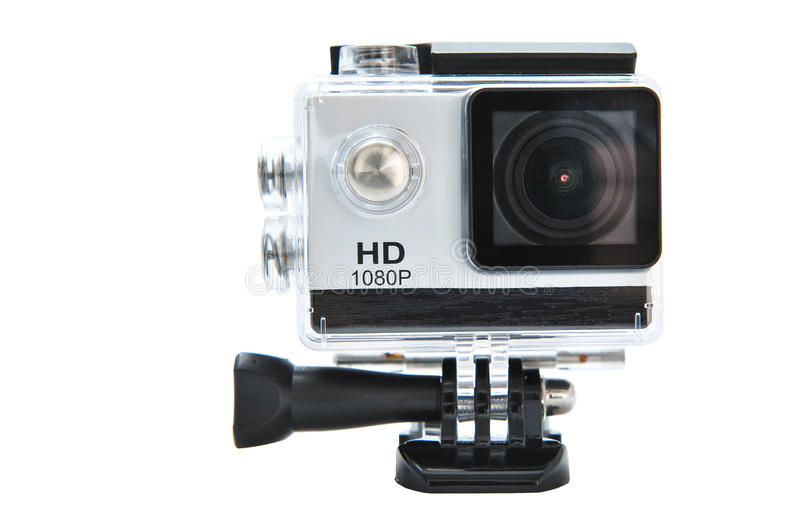Full HD 1080p action camera in waterproof housing. Full HD 1080p action camera fake GoPro. Digital camera designed for filming action while being immersed in it royalty free stock image