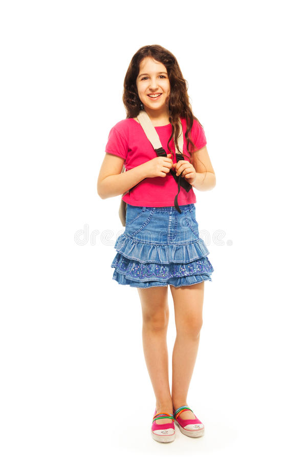 Full height portrait of 11 years girl stock images