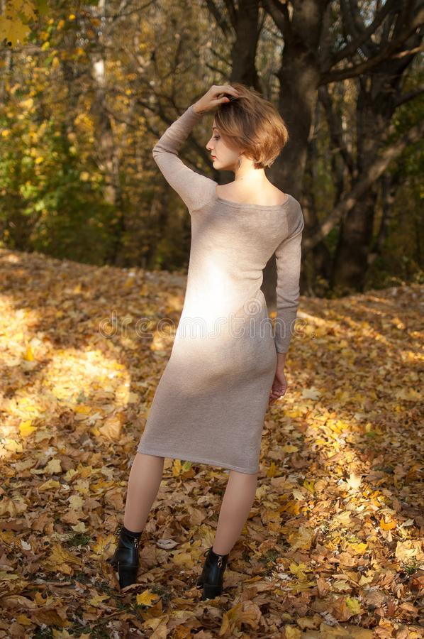 Full height portrait of happy girl with blonde short hair in a beige dress posing in a beautiful red-gold autumn park royalty free stock image