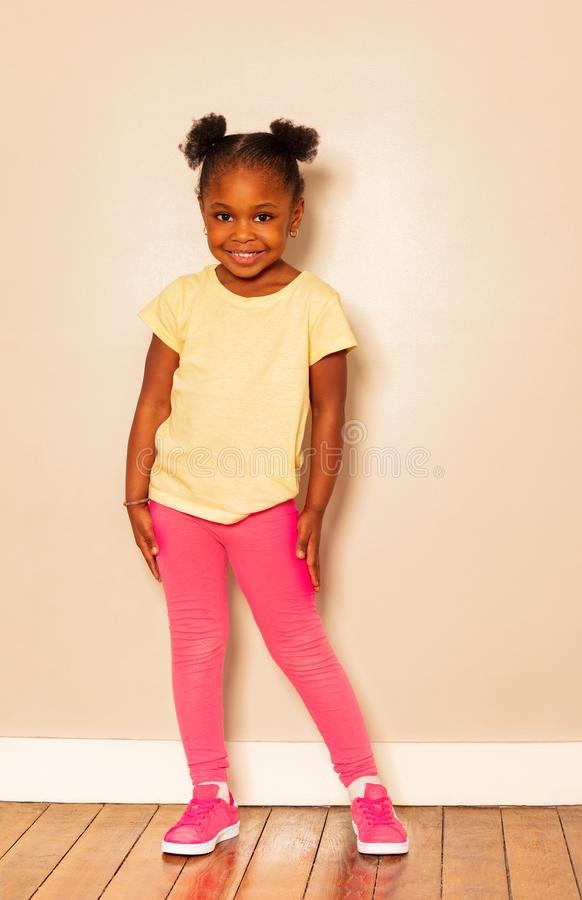Full height portrait of nice little black girl stock images
