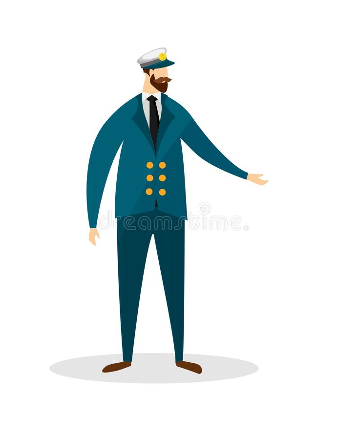 Full Height Portrait of Young Bearded Sea Captain. vector illustration