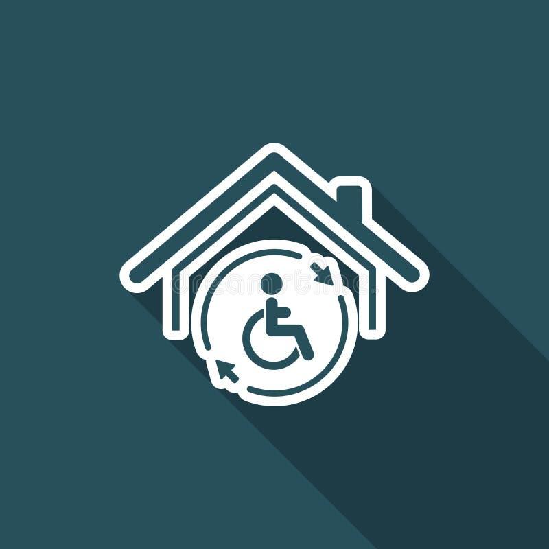 Full hjälp för bostads- handikapp - vektorrengöringsduksymbol stock illustrationer