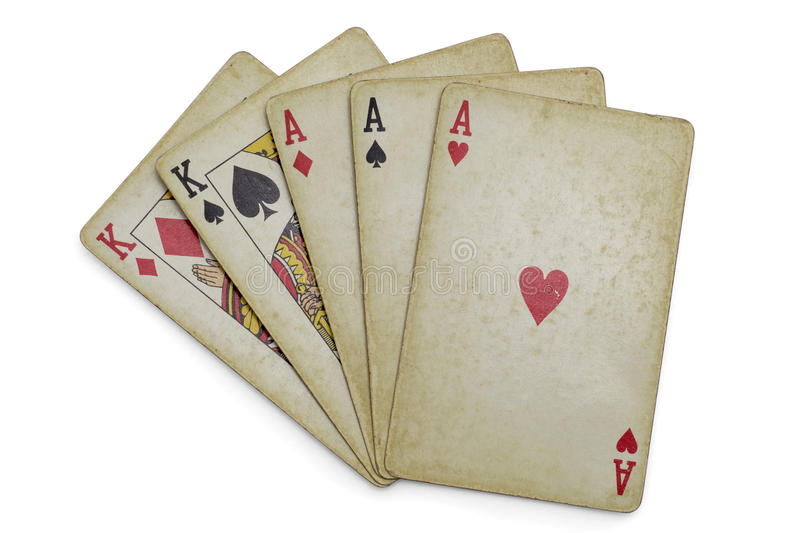Full house aces and Kings old cards isolated royalty free stock photography