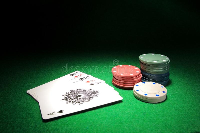 Full house K over Aces poker cards royalty free stock images