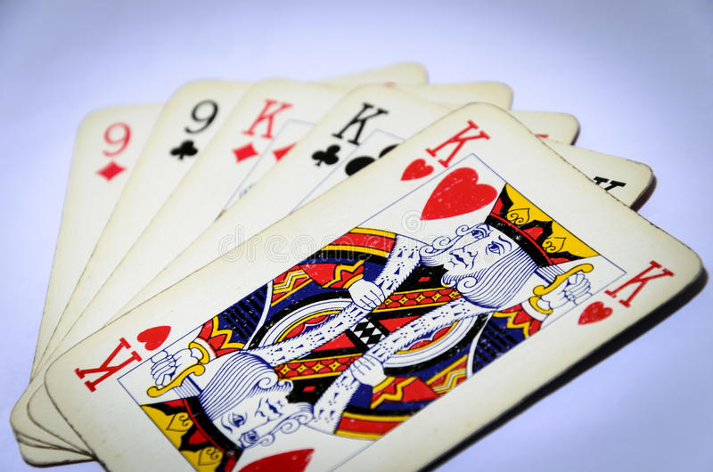 Full house of kings. Close up of a full house of kings , poker game, gamble stock photo