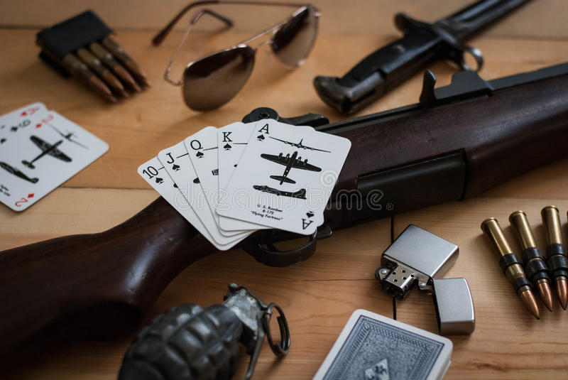 Full House. World War II Items still life stock photos