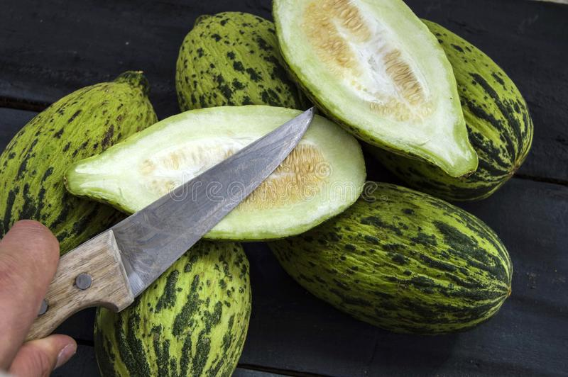 Full immature small melons, raw melon pictures, cut a small melon with a knife, eat an immature melon, immature small melons, stock images