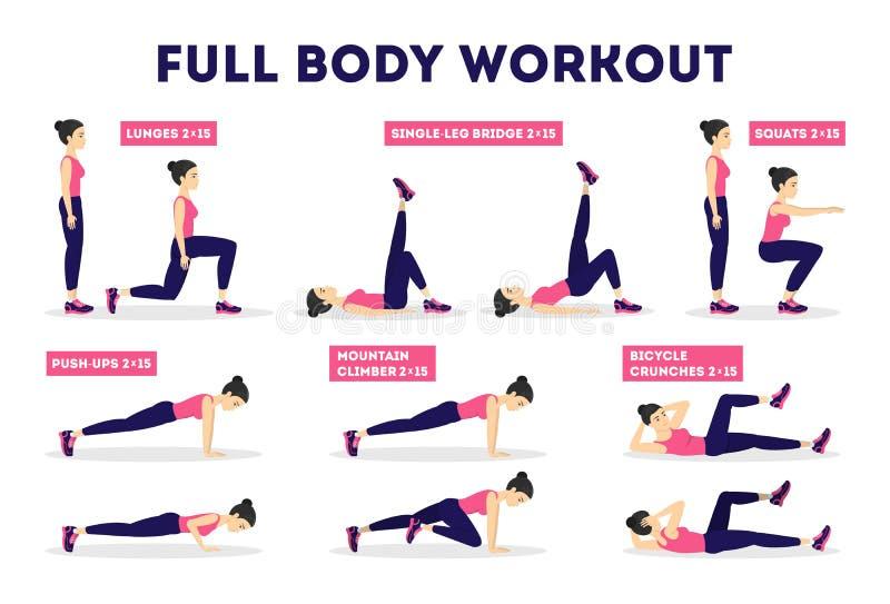 Full kroppgenomkörareuppsättning Övning för kvinna stock illustrationer