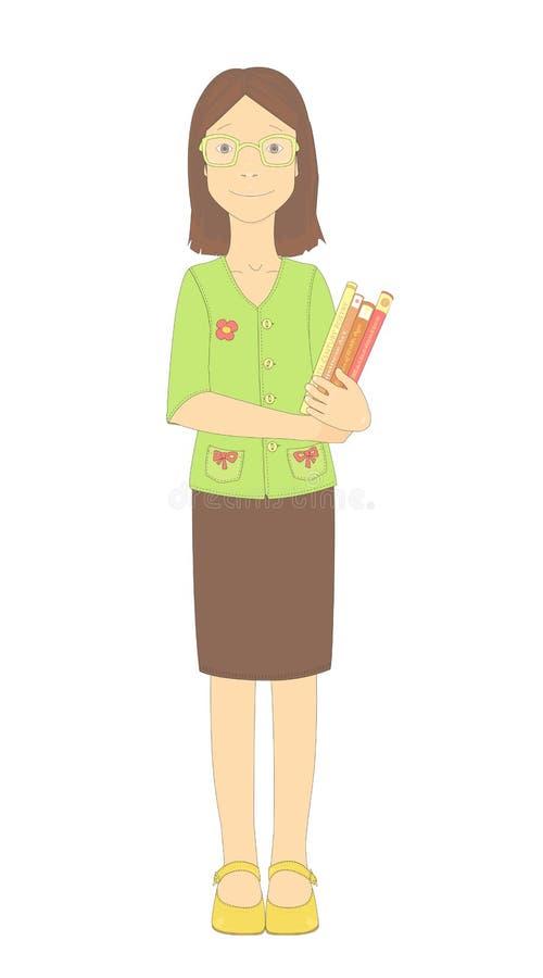 Full kroppstående av stående klyftiga exponeringsglas och innehavet för en lärare för ung flickanybörjareskola bärande en hög av  royaltyfri illustrationer
