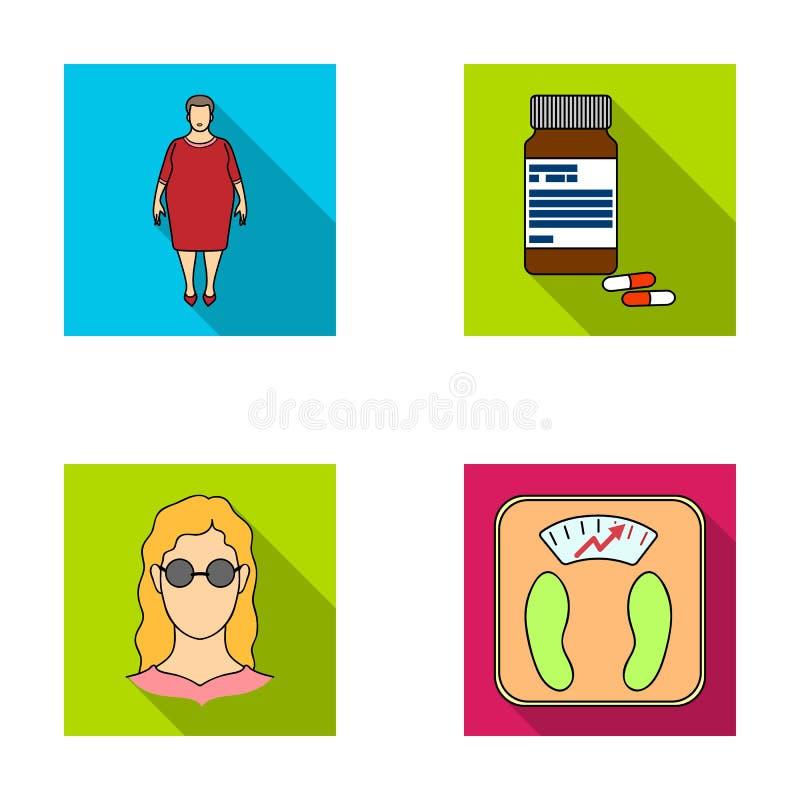 Full kvinna, en flicka med exponeringsglas, våg med utsökt resultat Diabeth ställde in samlingssymboler i plan stilvektor stock illustrationer