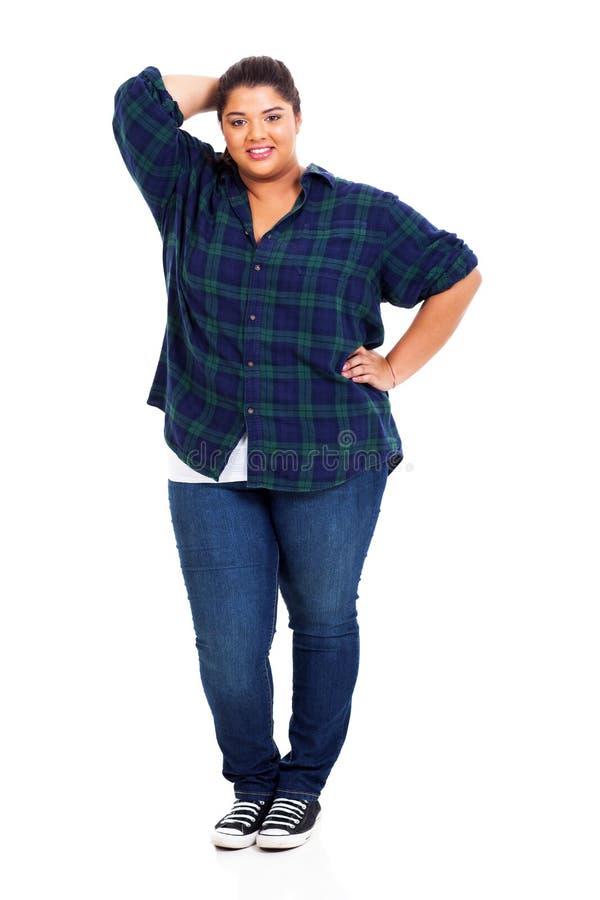 Obese tonåringflicka royaltyfri foto