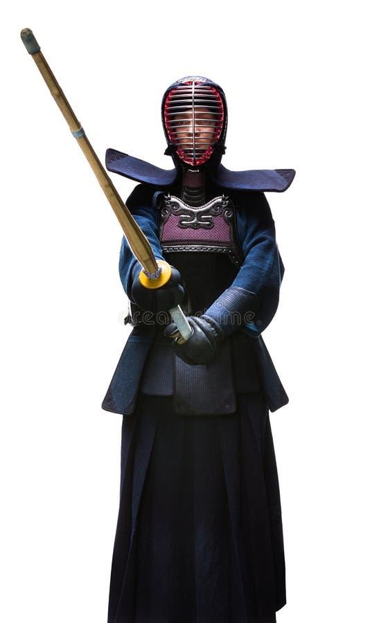 Full längd av kendokaen royaltyfri bild