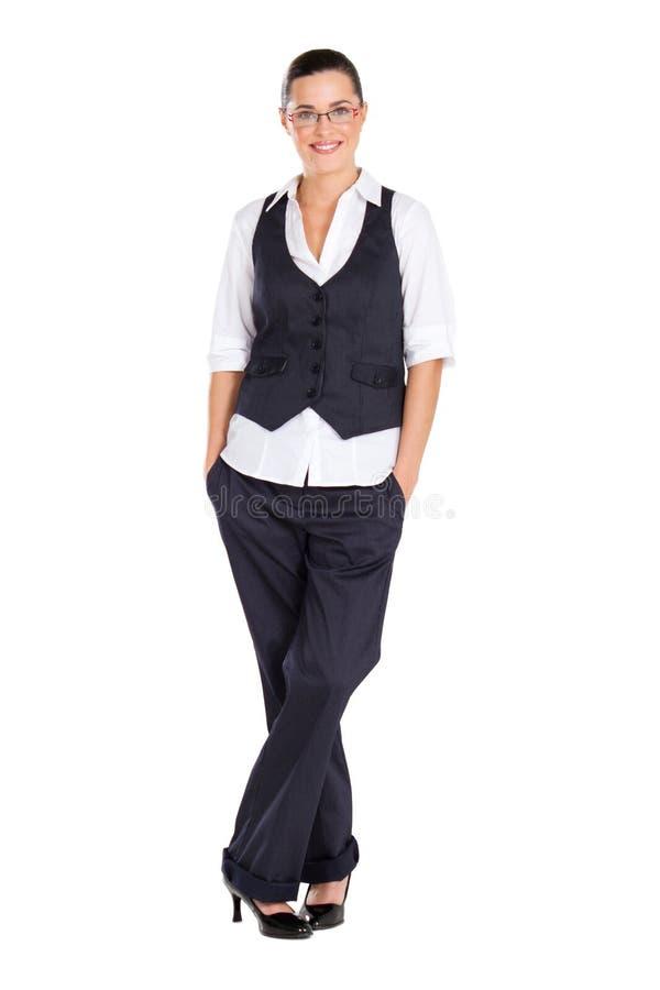 full längd för affärskvinna arkivfoto