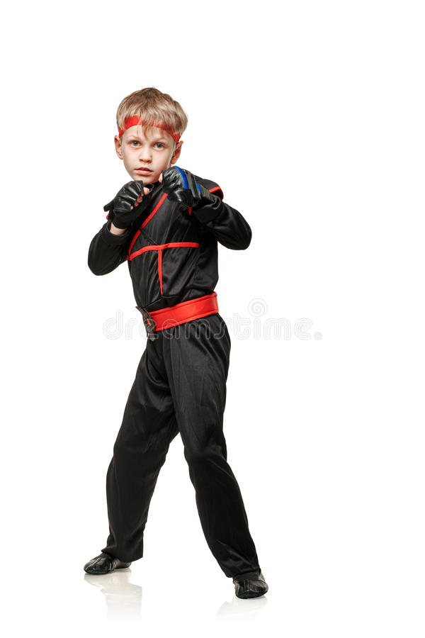 Full längd för pojkekämpe arkivbilder
