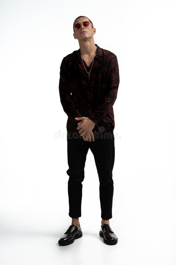 Full l?ngdst?ende av att f?rbluffa den attraktiva mannen i stilfull moderiktig kl?der, b?rande r?d solglas?gon som poserar med ko arkivfoto