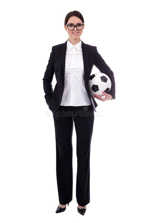 Full längdstående av den unga härliga affärskvinnan med socc royaltyfri bild