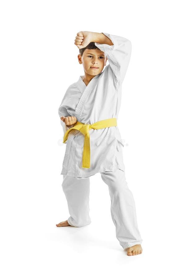 Full längdstående av en karatebarnövning på vit bakgrund royaltyfria bilder