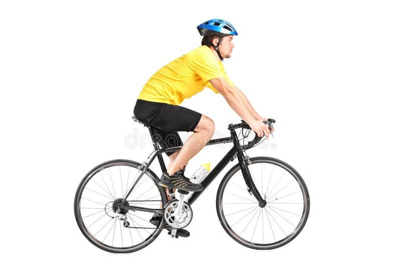 Full längdstående av en man som rider en bycicle royaltyfri foto