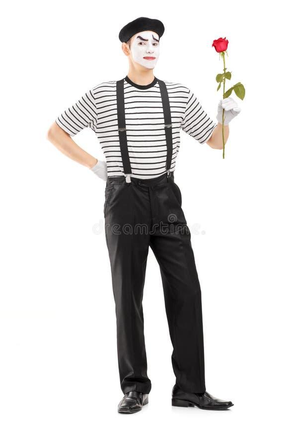 Full längdstående av en manlig farskonstnär som rymmer en rosblomma royaltyfri fotografi