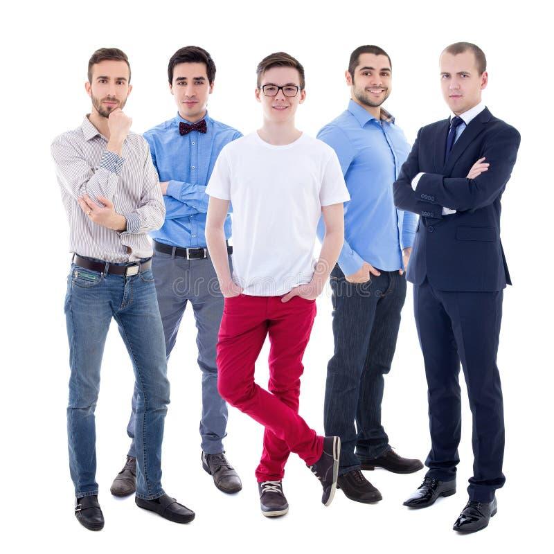 Full längdstående av unga stiliga affärsmän som isoleras på royaltyfri fotografi