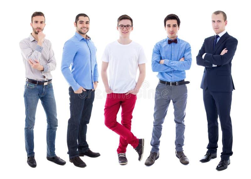 Full längdstående av unga stiliga män som isoleras på vit royaltyfria foton