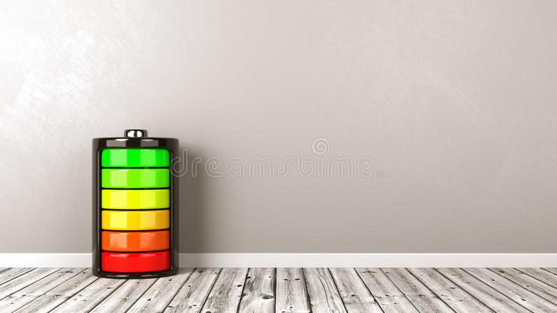 Full laddning för elektriskt batteri på golv vektor illustrationer
