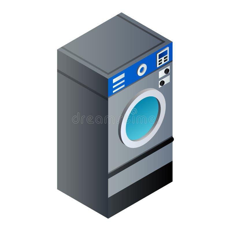 Full laundry wash machine icon, isometric style vector illustration