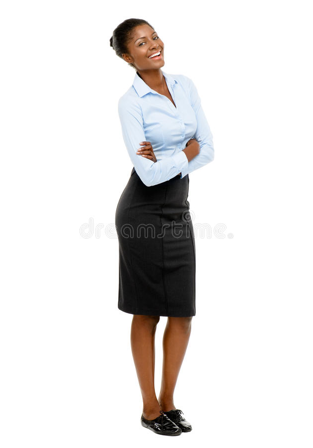 Full length African American Attractive young businesswoman whit. Full length African American Attractive young businesswoman stock images