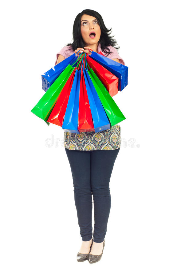 Download Full Length Of Amazed Woman With Bags Stock Photo - Image of colorful, length: 19713448