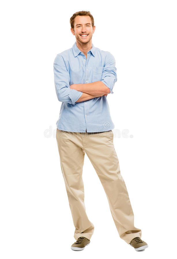 Download Full Length Of Attractive Young Man In Casual Clothing White Bac Stock Photo - Image of confident, cool: 31655136