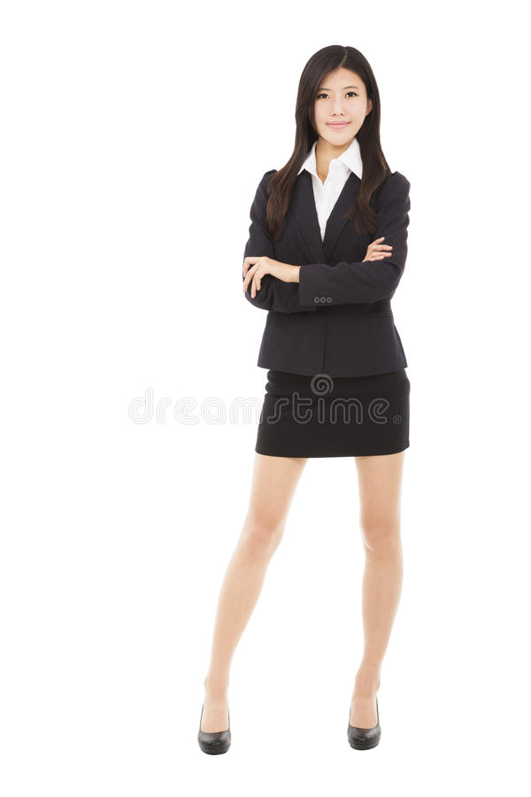 Businesswoman standing with isolated on wh royalty free stock photos