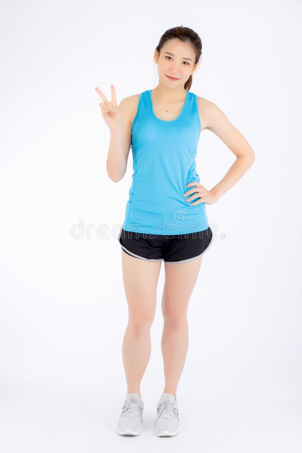 Full-length beautiful portrait young asian woman happy and smile stock photos