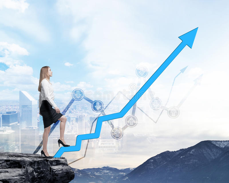 Full length beautiful woman in formal clothes on the rock is going up along the growing arrow. Financial charts and New York panoramic view on the background royalty free stock photo